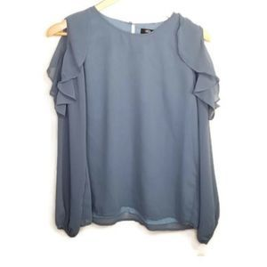 NWT Lucca Couture blue cold shoulder blouse size S